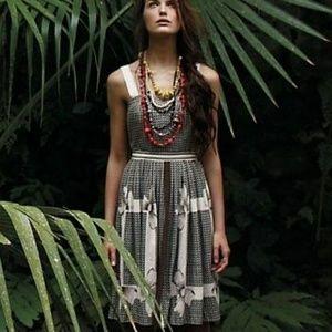 Anthro Edme & Esyllte Anonna Brown Geometric Dress